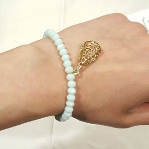 Jewelry - Icy Blue and Gold Beaded Charm Bracelet